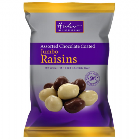Assorted Milk White Chocolate Coated Jumbo Raisins - Hider Foods 135g